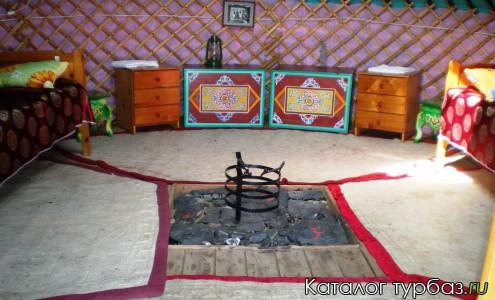 Юрта внутри, две раздельные кровати, прикроватные тумбочки, столы, в середине стилизованный очаг