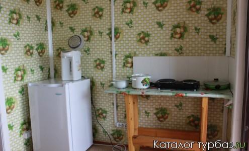 кухня оборудована холодильником, плитой